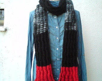 15 DOLLAR SALE Handmade Long Cable Scarf ,colorblock, fringed, thick,  warm, black grey red, unisex