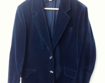 Vintage early 90's thick velvet womens jacket blaser in navy blue , size L / 10 US