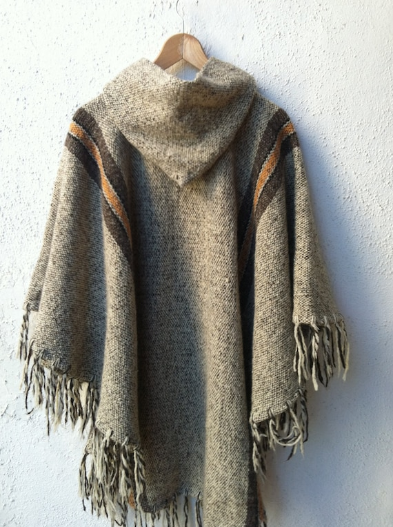 Vintage Stylish Wool Woven Poncho with Fringe and Hood One Size