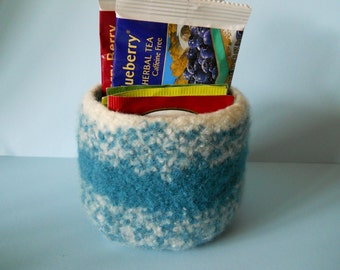 felted wool bowl dark teal and cream container jewelry holder candy dish desktop storage