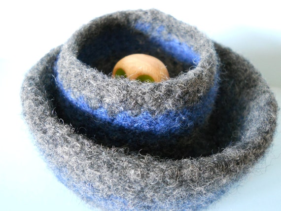 wee felted wool bowl set blue and gray