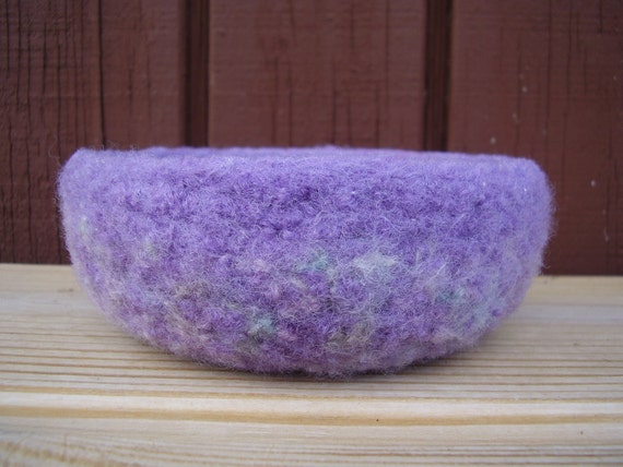 felted wool treasure bowl violet mix container