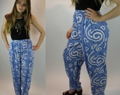 BLUE SPIRAL Abstract Print HAREM-style High Waisted Tribal Pants