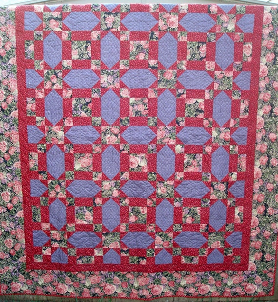 Quilt, Warm Purple and Wine Floral