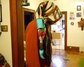 Muted rainbow elf hood