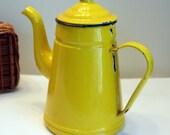 Yellow Enamelware Coffee Tea Pot