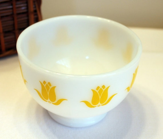 Fire King Yellow Tulip Cottage Cheese Bowl
