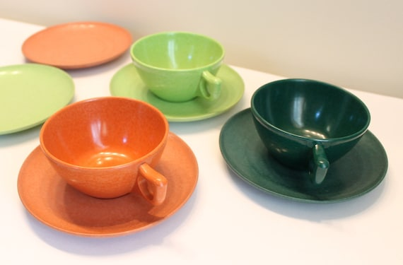 Branchell Color-Flyte Melmac Cups and Plates