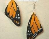 Yellow Monarch Butterfly Wing Earrings