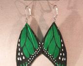 Green Monarch Butterfly Wing Earrings