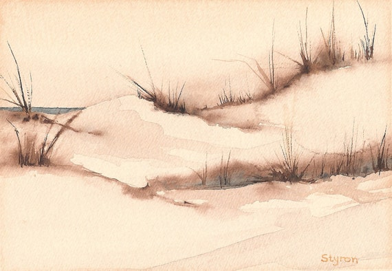 """Beach, summer, vacation, dunes, Print of Original Watercolor """"Coming Over the Dunes"""""""