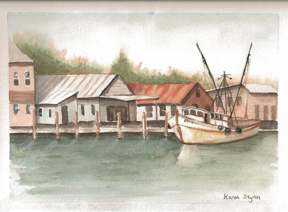 Fishing, dock, village, Original Watercolor - Coastal North Carolina