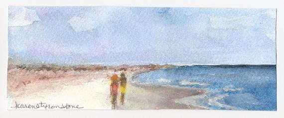"Lovers, honeymoon, beach, vacation, summerOriginal Watercolor   ""Mini-Vacation"""
