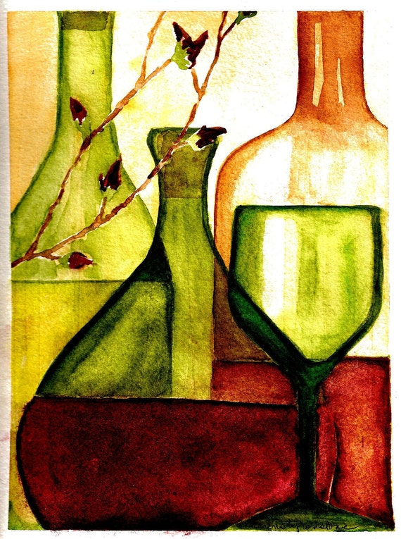 """Wine, watercolor, kitchen, dining, Print of Original Watercolor  """"Pick Your Poison"""""""
