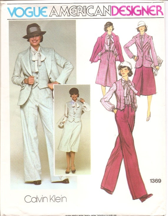 1970s Calvin Klein pattern, Vogue 1369