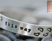 "Personalized Hand Stamped Bracelet ""Walk This Way"" Footprints - Aluminum Cuff - Custom"