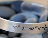 Personalized Hand Stamped Custom Aluminum Cuff - Latitude and Longitude