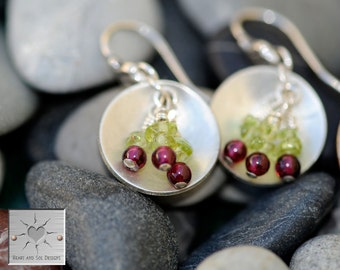 Life is Just a Bowl of Cherries  - Sterling Silver Earrings w/garnet and peridot cherries