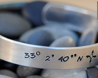 Hand Stamped Bracelet - Personalized Cuff Bracelet - Latitude and Longitude Bracelet - Long Distance Relationship Gift - Longitude Latitude