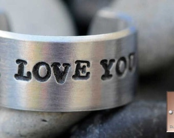 Hand Stamped Jewelry - I Love You - Made to Order - Personalized - Hand Stamped - Custom Adjustable Ring