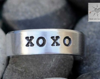 XOXO - Hugs and Kisses - Made to Order - Personalized Hand Stamped Custom Adjustable Ring
