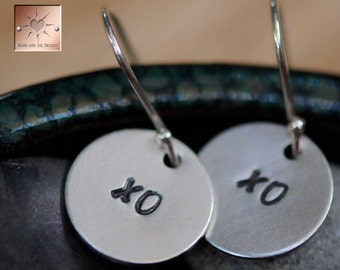 "XO XO  - Sterling Silver Earrings - Hand Stamped 1/2"" Discs"