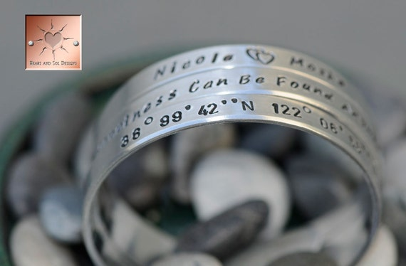 Mothers Day Gift - Personalized Hand Stamped Custom Aluminum Bangle Cuffs - Set of Three