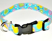 """Dog Collar Blue Turquoise Teal Hearts Yellow Green White XS 7-11"""" Shipping Included"""