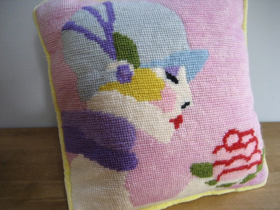 Vintage Needlepoint Pillow Lady with Rose