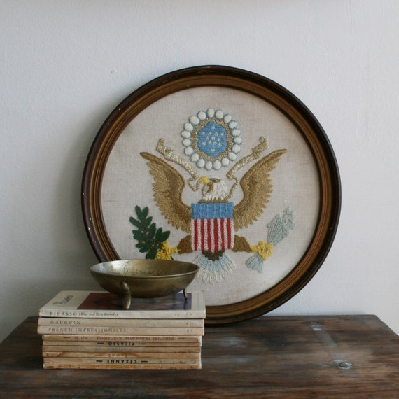 Vintage Patriotic Eagle Embroidery Crewel with an Americana Theme