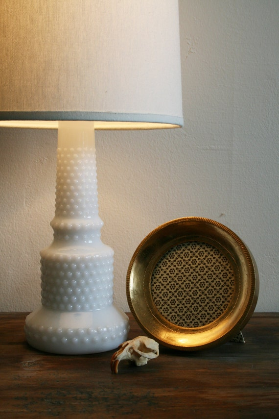 Vintage Hobnail Lamp in Milk Glass with Raised beaded Surface