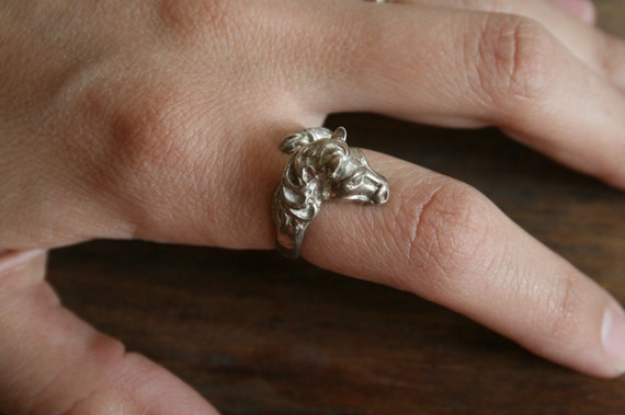 Vintage Sterling Silver Ring Of Horse and tail Adjustable Ring