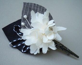 SHOP CLOSING SALE / Handmade Fabric Flower Boutonniere / Black & White