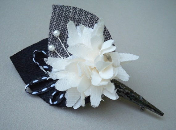 Handmade Fabric Flower Boutonniere - Prom - Wedding