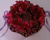 """9 1/4"""" Medium Drawstring Jewelery Pouch - Green, Pink, and Purple Circles with Pink Satin"""