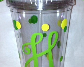 Personalized Monogram Tumbler with Lid and Straw