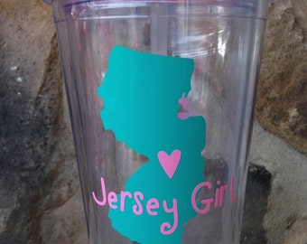 Personalized Jersey Girl or State of Your Choice Tumbler with Lid and Straw