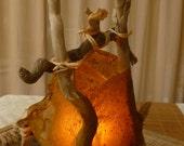"RESERVED for Theresa -Table Lamp: ""Summer Breeze"" Natural Driftwood & Handmade Paper Lantern /  Light - OOAK"