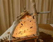 "Table Lamp: ""BROOK"" Natural Driftwood & Handmade Light - OOAK"