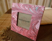 S A  L E    Romantic Pink and Red tones  Handmade Marbled Paper Photo Frame - ECO-Upcycled-Green Products OOAK
