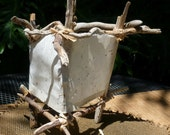 "ECO Friendly Table Lamp: ""Frost"" Natural Driftwood & Handmade Paper Light - OOAK"