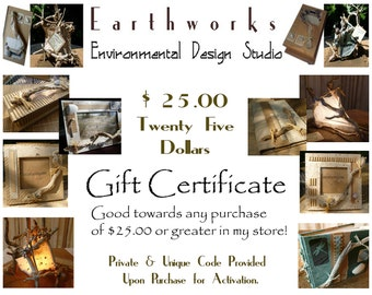 GIFT  C E R T I F I C A T E  Twenty Five Dollars - Handmade Eco Friendly Green Gifts - OOAK