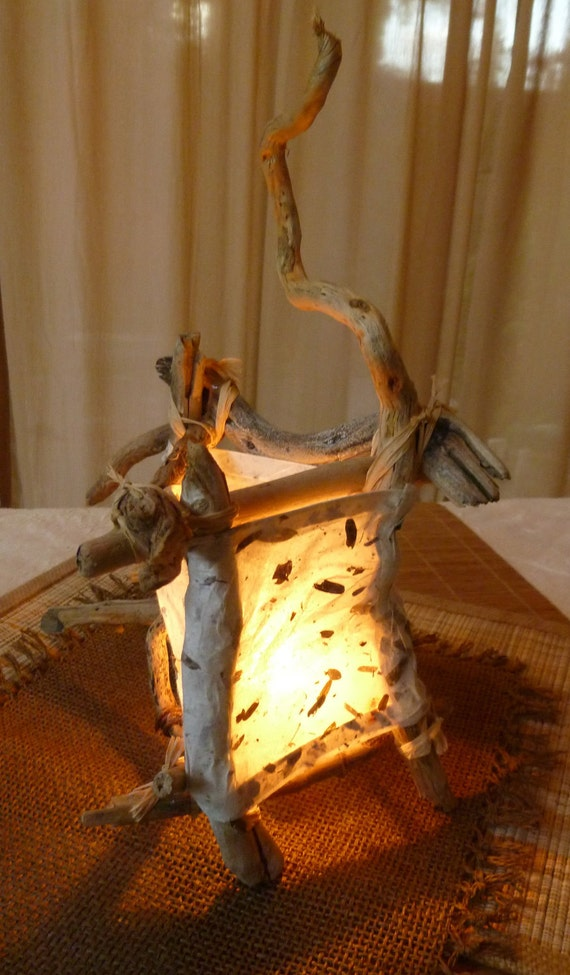 """ECO Friendly Table Lamp: """"Windy"""" Natural Driftwood & Handmade Paper Latern / Lighting-OOAK"""