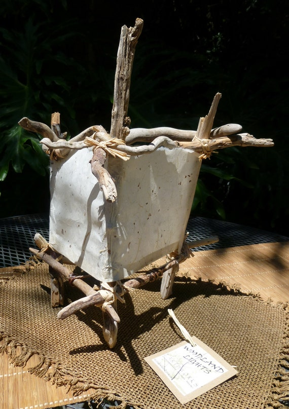 """ECO Friendly Table Lamp: """"Frost"""" Natural Driftwood & Handmade Paper Light - OOAK"""
