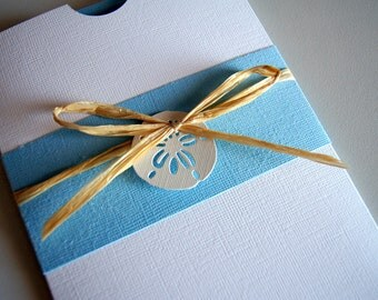 Custom Handmade Beach Wedding Pocket Invitation