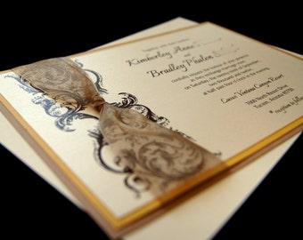 Kimberley's Antique Flourish Custom Wedding Invitation