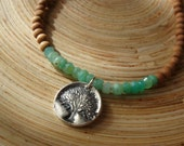 Tree of life necklace with chrysoprase and 108 sandalwood beads / yoga necklace / yoga accessories / yoga wear