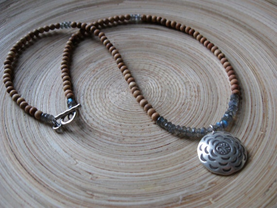 Stamped stylized om and labradorite mala necklace with 108 aromatic sandalwood beads  // om necklace