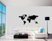 World Map - Vinyl Wall Decal (23x48)