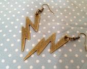 Antique Bronze/Gold Vintage Style Lightning Bolt Earrings